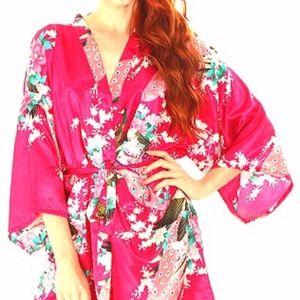 Simplicity One Size Peacock Blossom Print Kimono